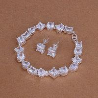 S144 925 silver jewelry set,fashion jewelry,Nickle free women,chains Inlaid Crystal Zircon Earrings Bracelet Jewelry Sets