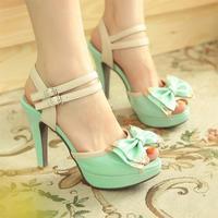 2014 open toe high-heels platform thin heels bow metal hasp sandals female summer shoes waterproof wedges platform  ladies shoes