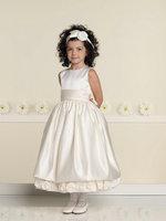 Fast Shipping Scoop Neckline Satin with Flowers Little Flower Girl Dress