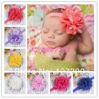 2014 Infant Headbands With Mesh Gazue Flower Girl Elastic Headband Baby Hair Accessories Newborn Flower Hairbands Baby Headwear