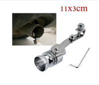 Universal Turbo Sound Whistle Exhaust Pipe Tailpipe Fake BOV Blow-off Valve Simulator Aluminum Size L 11x3cm