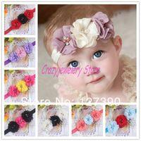 Newborn Headbands With Triple Chiffon Flower Elastic Headband Baby Hair Accessories Infant Chiffon Pearl Hairbands Girl Headwear