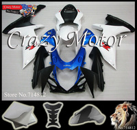 FAIRING Set For SUZUKI white blue black  2011 2012 GSXR750 2011 2012 GSXR600 K11 Injection Mold Plastic Kit 10