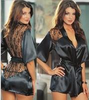 Sexy Erotic Lingerie Langerie New 2015 Kimono Dress Black Pajamas for Women Baby doll +G String