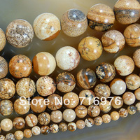 4 6 8 10 12 14mm Natural Beautiful Picture Jasper Round Beads 15.5inch/strand Pick Size Free Shipping-F00103