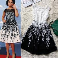 Sleeveless Women Embroidery Lace Dress Cheap Plus Size Women Dresses New Fashion 2014 Summer Runway Dress LQ9083