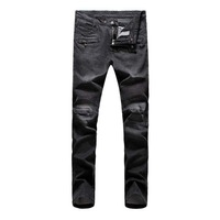 Europena and American Style Motorcycle Men's Jeans Black Skinny Pencil Pants Free Shipping