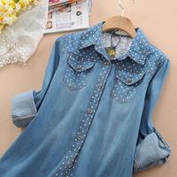 2014 Spring women's clothes plus size polka dot denim shirt female long-sleeve shirt medium-long loose retro jeans shirts