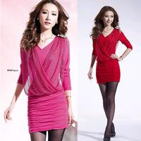 2014 spring  sexy deep v-neck autumn plus size S-3XL clothing autumn  winter long-sleeve slim hip epaulette one-piece mini dress