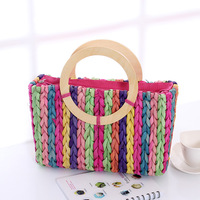 Brief stripe straw bag fashion handbag women's summer woven bag handbag bag beach bag rattan bag innumeracy
