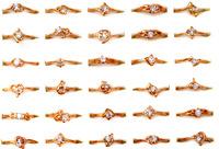 Wholesale mix lot 30pcs rhinestone rings charming ring fashion gold  rings Women wedding jewelry