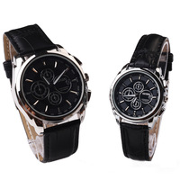 Hot sale original brand Black Couple watches men women High quality Leather clock  price  free  shipping