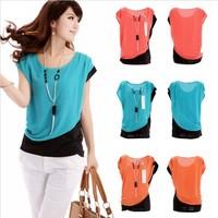 New 2014 Spring Women Blouse Summer Ladies Career Casual Short Sleeve Round Neck Chiffon Blouse Work Wear Blusas Femininas Shirt