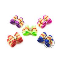 Handmade Pet Grooming Accessories 15Pcs/lot Mixed Ribbon Hair Bow Dog Rubber Bands Dog Hair Bows, Dog Show Supplies.