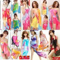 2pcs/lot 100% Floral Chiffon Pareo Dress Sarong Wrap Beach Swimwear Cover up  Swimwear Scarf Wrap Dress