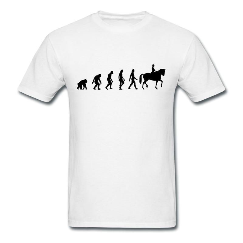 Customize Slim Fit Mens T Shirt Horse Riding Evolution Geek Party Tee Shirts Man O Neck(China (Mainland))