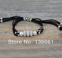 5pcs Wholesale Fashion Jewelry Vintage Silvers Rhinestone Beads 4-Strand Black Velvet Rope &Pearl Wrap Bracelets &Bangle  P1956