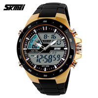 2014 New 50M Waterproof  watches Men Sports wristwatch Digital Dual Time Watches Hours Army Military Men Quartz Watches Rubber