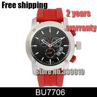 New 2014 Men's Chronograph Black Dial Watch Red Rubbler Strap Wristwatch BU7706 7706 Swissi movement Sapphire lass Original box