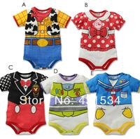 Retail 2014 Newborn 1pcs Baby Cartoon Minnie Mickey romper Short sleeves bodysuits Infants one-piece bodysuit