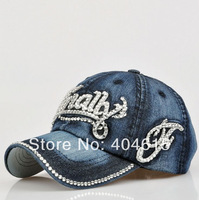 Top Quality Women and Men Fashion New Letter Water Drill Denim Washed Baseball Caps