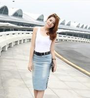 2014 Hot Sale Top Fasion Button Solid Saias Femininas Saia Saias Spring Bag Skirt Denim Slim Plus Size Step Female Shipping