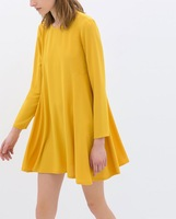 New Women Fashion Solid Long Sleeve Loose Bottom Dress, Ladies Brief Round Neck Yellow Mini Dress q239