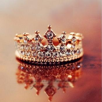 ретро стиль королевы риме кристалла сплава позолоченные женщин корона кольца, два цвета