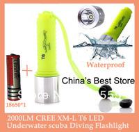 Wholesale 2000LM CREE XM-L T6 LED Waterproof underwater scuba Diving Flashlight Dive Torch light lamp + 18650 4200mah battery