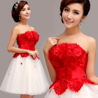 The bride red bridal evening dress short design evening dress evening dress cheongsam bridesmaid wedding dress Free shipping