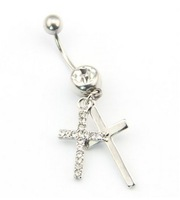316L Surgical Steel 14 Guage Stainless Steel Double Cross Dangle Body Piercing Belly Barbell Navel Ring Bar