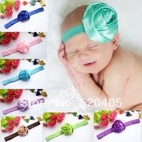 5CM Shimmery Triple Big Satin Ribbon Roses Flowers Headbands Baby Girls Flower Hair Bands 24 PCS