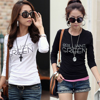 2014 new Autumn and winter o-neck women's long-sleeve slim formal shirt basic t-shirt