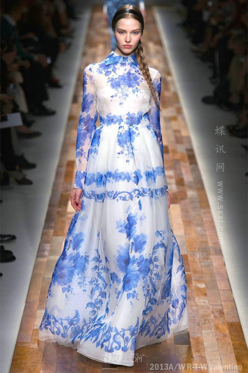 TF072 2014 Now Arrive Spring Summer Fashion Runway Blue Flower Silk Blue Print Long Prom Dresses Women(China (Mainland))