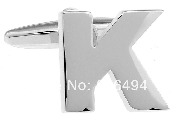 fantasia prata abotoaduras novo letra k l285 camisa abotoaduras para(China (Mainland))