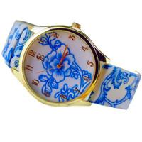 Retro Ceramics New Hot Promotion Fashion Rose Flower Decoration Woman Leather Quartz watch