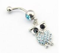 316L Stainless Steel 14G Blue Crystal Cute Retro Owl Bird Dangle Navel Ring Belly Bar Stud Ball Barbell Body Piercing Kit Gift