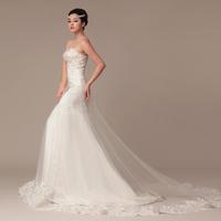 2014 wedding formal dress slim tube top fish tail train wedding dress white wedding dress wedding dress