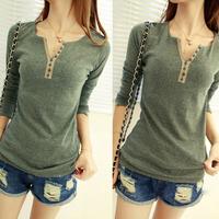 Fashion Women's Girls Cotton Long Sleeve T-shirt Bottoming Shirt Top 4Colors