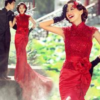 2014 evening dress the bride red fashion evening dress cheongsam married long design tube top trailing short formal dress