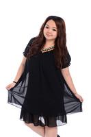 Plus Size Women Clothing Ladies Black Big Size Retro Vintage V-neck Summer Casual Chiffon Casual Dresss Vestido Renda XXL XXXL