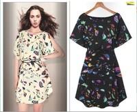 New 2014 Women Winter Dress Animal Bird Sparrow Print Chiffon High Street Gowns Party Elegant Vestidos Casual Dresses 9361-9361