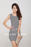 Newest women cotton dress white/black strip color Neck lady fashion casual dresses plus size Free shipping Top quality