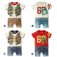 Wholesale New 2014 Summer Clothing Baby Wear Newborn Baby Boy Romper Summer Print Short Sleeve Overall Baby Rompers