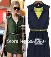 new 2014 hot sale fashion women ladies chiffon dresses sleeveless with belt mini casual dress plus size 8170
