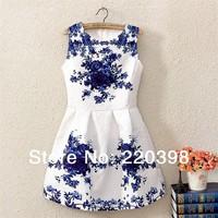 2014 Spring New Vintage Style Women's Fashion White Sleeveless Porcelain Print Flare Dress 802-915