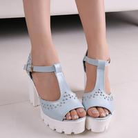 2014 high thick heel platform hasp rivet open toe sandals fashion women's summer shoes sandals size 35-39