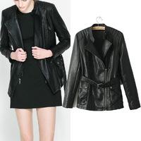 2015 New Brands Women's Leather Jacket Black Slim Turndown Collar Biker Outerwear With Belt Jaqueta Couro Feminina