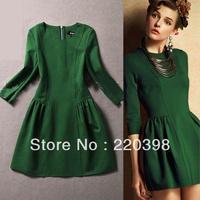 2014 hot sale dresses new fashion Princess office winter casual dress women Half sleeve qulity novelty maxi dresses 8988