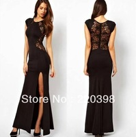 2014 Sexy Lace See-through Slim Bodycon Split Party Evening Maxi Long Dress 5size S-XXL 1018